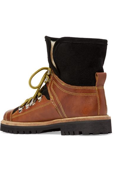 Billig Verkauf 100% Authentisch Wirklich Billige Schuhe Online GANNI Edna Ankle Boots aus Leder und Veloursleder mit Shearling-Futter kPNdmeMGfY