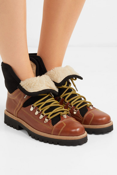 329c96dcc2a Edna shearling-lined leather and suede ankle boots