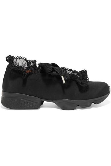 Freiheit Der Billigsten Auslass Bilder GANNI Harriet Sneakers aus glänzendem Twill mit Chiffonbesatz g5ChNHm1