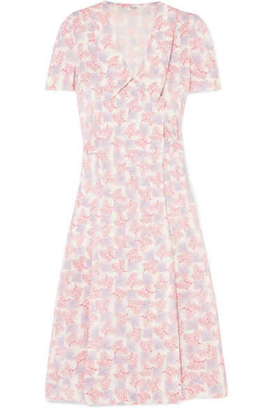 Miu Miu Dress Floral-print silk crepe de chine wrap dress