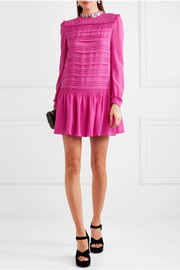 Miu Miu Embellished silk-chiffon mini dress
