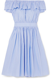 Off-the-shoulder striped cotton-poplin midi dress