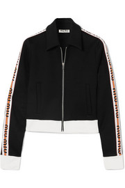 Miu Miu Striped cotton-blend jersey jacket