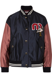 Appliquéd satin-shell bomber jacket