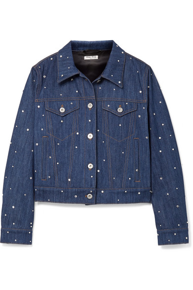 Crystal Embellished Denim Jacket by Miu Miu