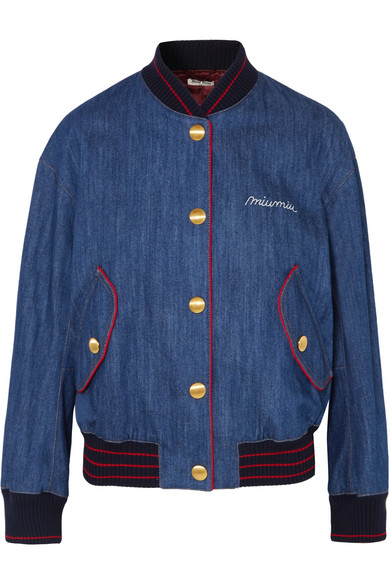 Miu Miu Bomber Jacket Made Of Denim With Embroidery