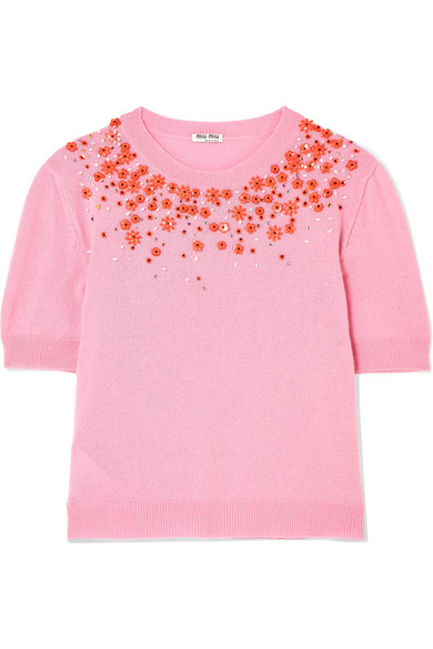 Miu Miu - Embellished Cashmere Sweater - Pink