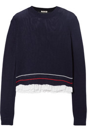 Broderie anglaise-trimmed open-knit cotton sweater