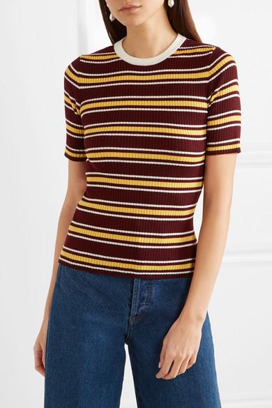 Miu Miu Gestreifter Pullover aus gerippter Wolle