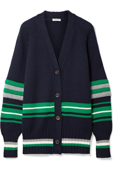 Miu Miu Gestreifter Oversized-Cardigan aus Wolle