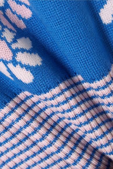 Miu Miu Verkürzter Wollpullover mit Intarsienmuster
