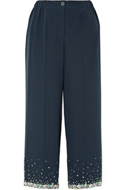 Cropped embellished silk crepe de chine wide-leg pants