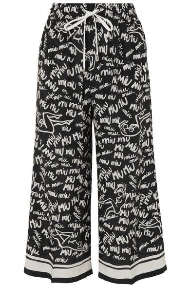 Cropped Printed Silk Crepe De Chine Wide-leg Pants - Black Miu Miu vCdob