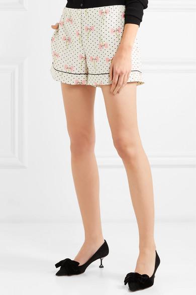 Miu Miu Shorts aus bedrucktem Crêpe de Chine aus Seide