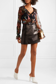 Miu Miu Bow-embellished leather mini skirt