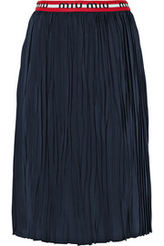 Striped plissé silk crepe de chine midi skirt