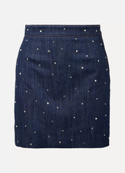 Miu Miu Crystal-embellished denim mini skirt