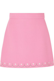 Embellished wool-crepe mini skirt