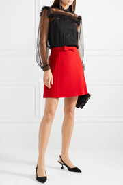 Miu Miu Bow-embellished wool-crepe mini skirt