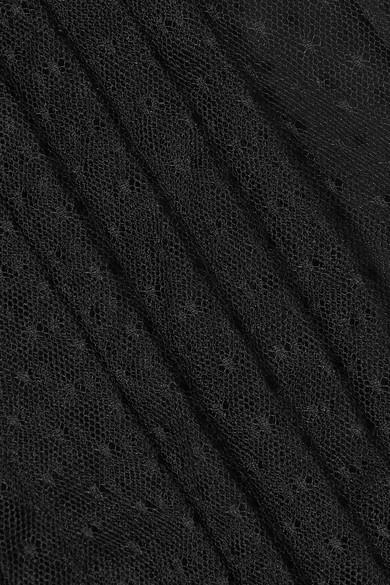 Miu Miu Gerüschte Bluse aus Tüll mit eingewebten Punkten