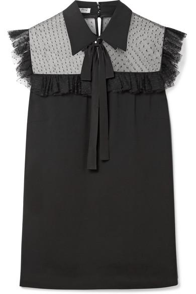 Miu Miu - Pussy-bow Point D'esprit Tulle-paneled Crepe De Chine Blouse - Black