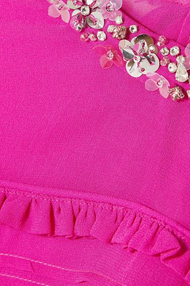 Miu Miu Verzierte Bluse aus Seiden-Georgette mit Falten