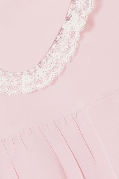 Miu Miu Bluse aus Seidenchiffon mit Spitzenbesatz