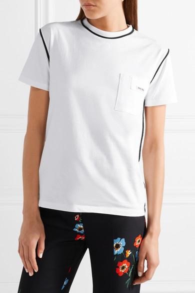 Miu Miu Bedrucktes T-Shirt aus Baumwoll-Jersey