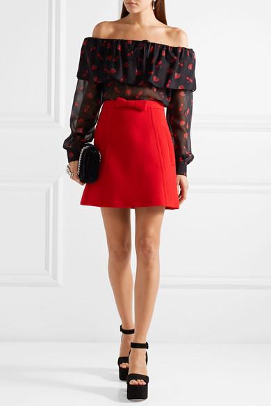 Miu Miu Schulterfreie Bluse aus bedrucktem Seiden-Georgette