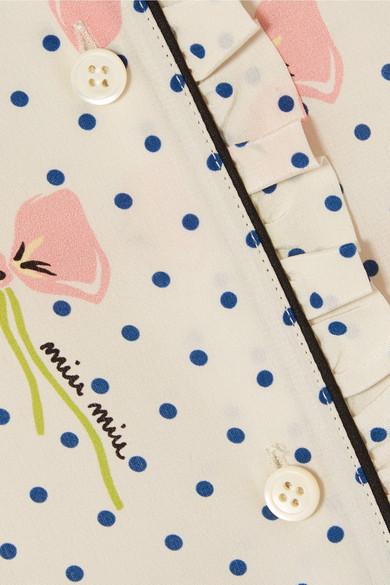 Miu Miu Bedrucktes Seidenhemd aus Crêpe de Chine