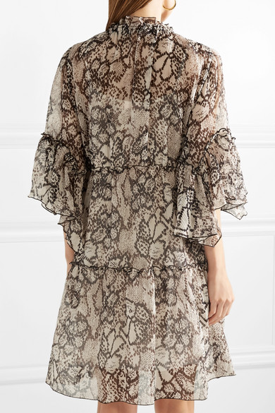 See by Chloé Floral bedrucktes Kleid aus Krepon aus einer Baumwoll-Seidenmischung