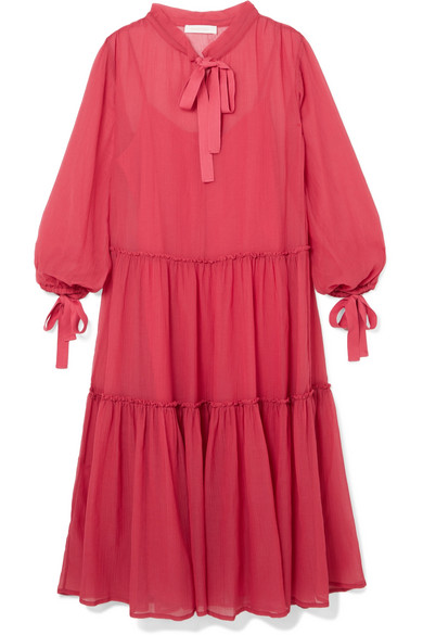 See by Chloé - Pussy-bow Cotton And Silk-blend Crepon Maxi Dress - Pink