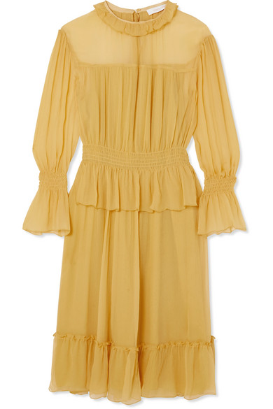 See by Chloé - Ruffled Crinkled-silk Dress - Yellow