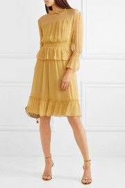 See by Chloé Ruffled crinkled-silk dress