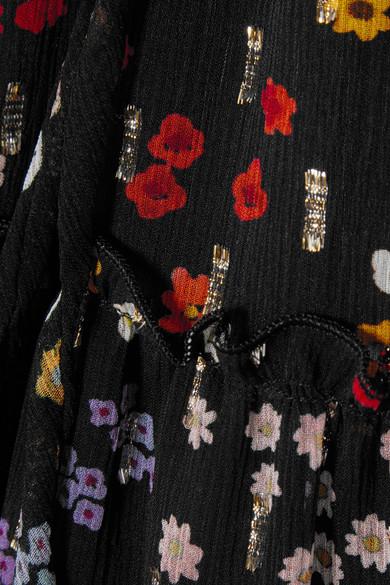 See by Chloé Midirock aus Seiden-Georgette mit Fil Coupé und Blumenprint