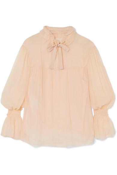 See by Chloé Plissierte Bluse aus Seiden-Georgette mit Raffungen