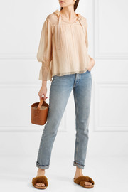 See by Chloé Shirred plissé silk-georgette blouse
