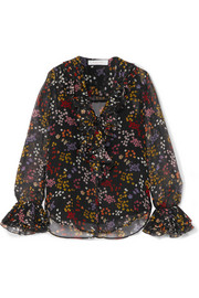 Ruffled floral-print fil coupé silk-georgette blouse