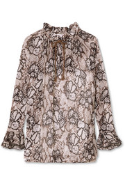 Printed cotton and silk-blend crepon blouse
