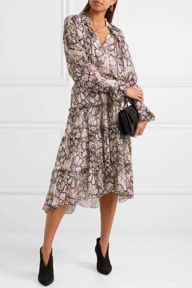See by Chloé Bedruckte Bluse aus Krepon aus einer Baumwoll-Seidenmischung
