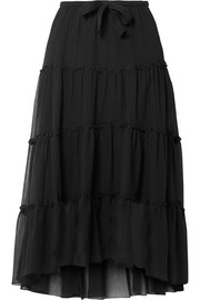 Tiered cotton and silk-blend crepon midi skirt