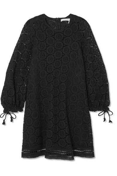 See By Chlo Corded Cotton Lace Mini Dress In Black Modesens