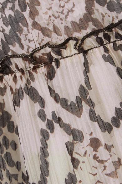See by Chloé Bedruckter Midirock aus Krepon aus einer Baumwoll-Seidenmischung