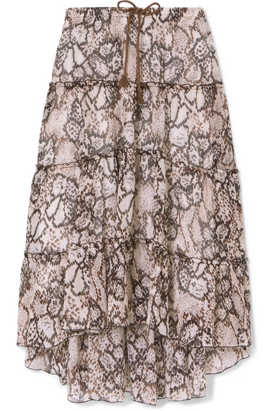 SEE BY CHLOÉ PRINTED COTTON AND SILK-BLEND CREPON MIDI SKIRT