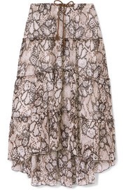 Printed cotton and silk-blend crepon midi skirt
