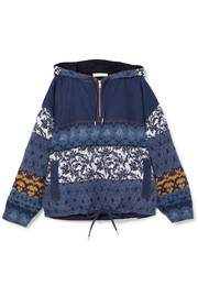 Jacquard-paneled denim hooded top