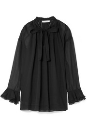 See by Chloé Pussy-bow ruffled cotton and silk-blend crepon blouse