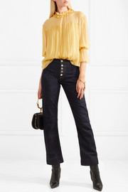 See by Chloé Shirred silk-georgette blouse