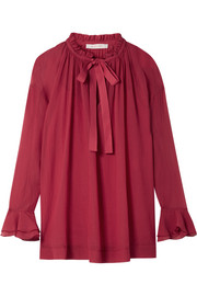 Oversized ruffled cotton and silk-blend crepon blouse