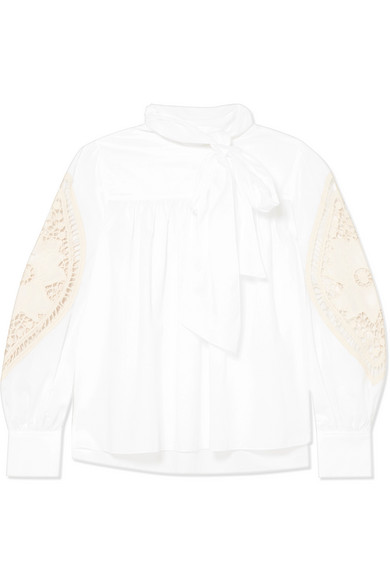 Crochet-Paneled Cotton-Poplin Blouse in White